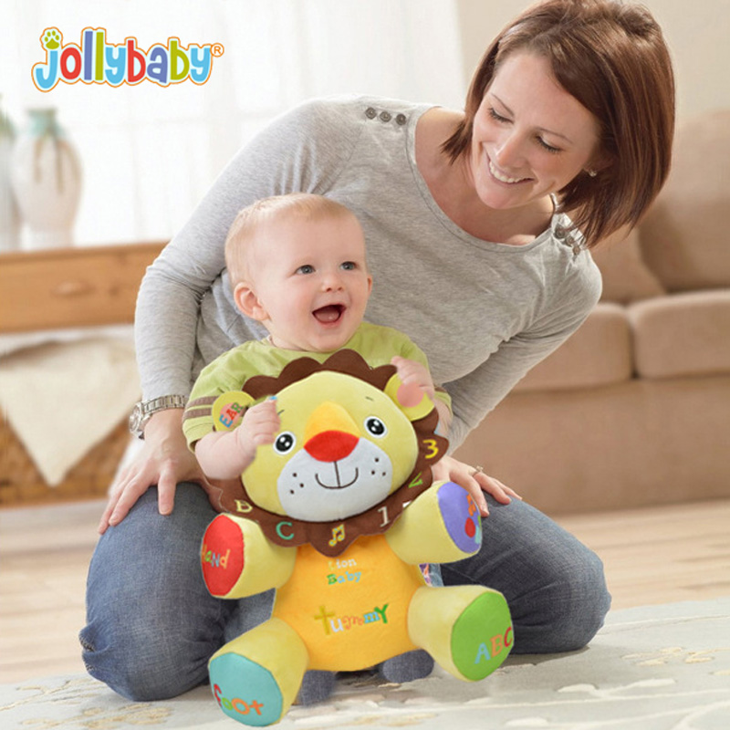 Jollybaby English Chinese Billingual Learning Music Plush Toy Baby Rattle Infant Kids Talking Lion Elephant Doll bt2048 lion model handbell newborn toy plush squeeze rattle cute gift baby toy