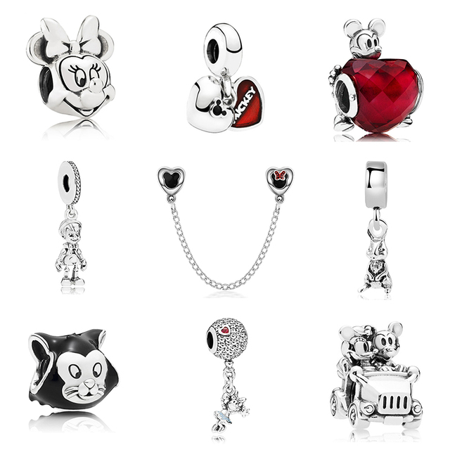 2f971c8e9 Aliexpress.com : Buy New Original Silver Plated Bead Alloy Cartoon Mickey  Fairytale Dangle Charm Fit Pandora Bracelet Necklace DIY Women Jewelry Gift  from ...