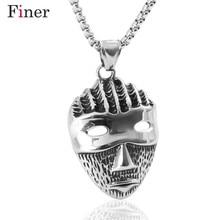 лучшая цена 316L Stainless Steel Men Necklace Vintage Pendant Necklace Men Jewelry Punk Style Box Chain Mask Necklaces