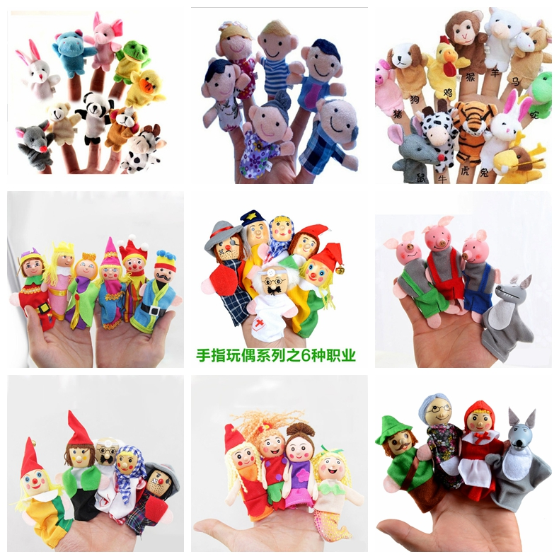 Finger Puppets Baby Mini Animals Educational Hand Cartoon Animal Plush Doll Finger Puppets Theater Plush Toys For Children Gifts