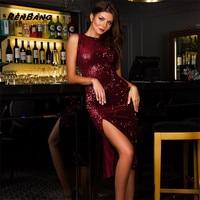 RENBANG Women Hot Summer Dress O Neck Paillette Sequins Sleeveless Slim Pencil Party Dresses Night Club