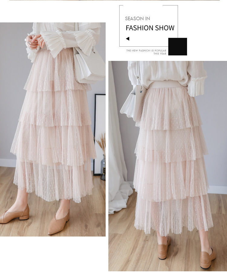 Fitaylor Spring New Sweet Cake Layered Long Mesh Skirts Princess High Waist Ruffled Vintage Tiered Tulle Pleated ins Skirts 4