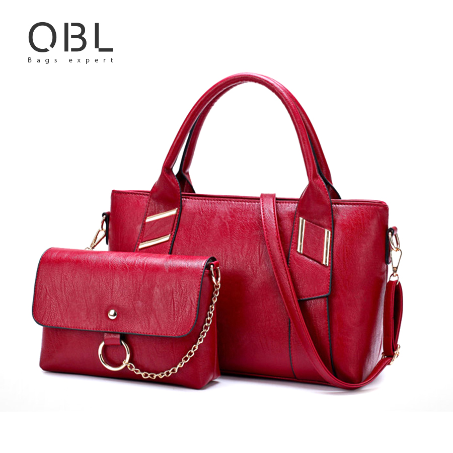 QiBoLu 2pcs Composite Handbag Women Tote Bag Clutch Ladies Hand Bags Bolsa Feminina Bolsos Mujer Bolsas Femininas Tassen WB19 feral cat ladies hand bags pvc crossbody bags for women single trapeze shoulder bag dames tassen handbag bolso mujer handtassen