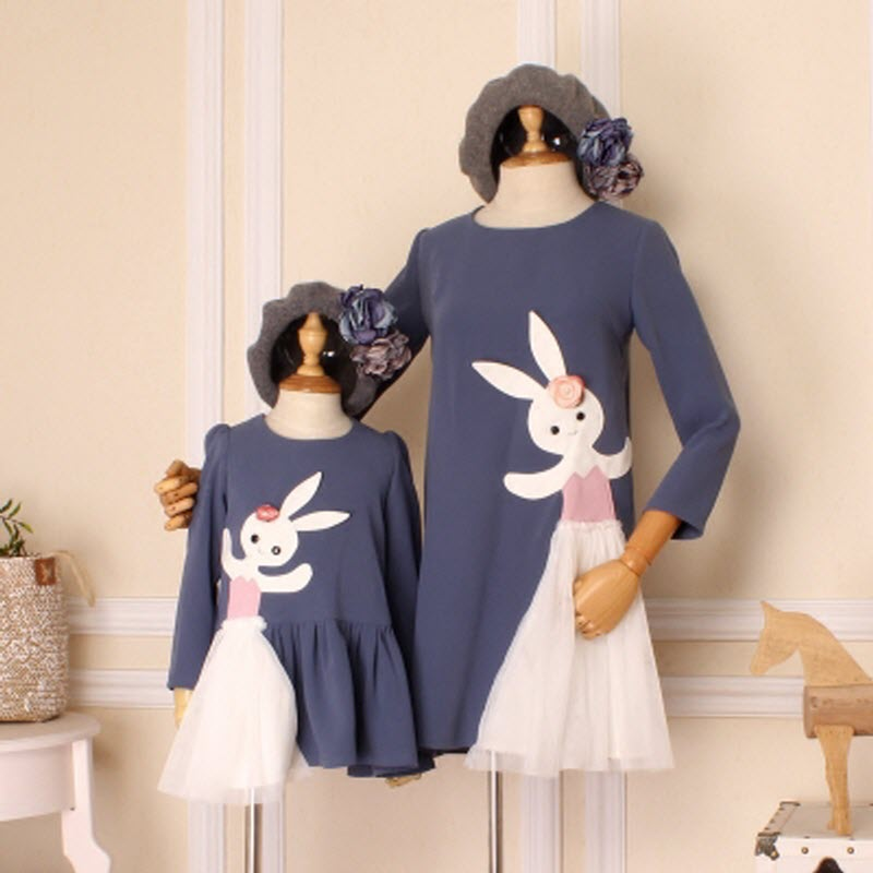 Children Clothes women baby girl family matching clothing mother daughter dresses dance bunny kids party sister match clothes rosemary wells bunny party