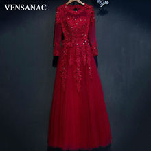 VENSANAC 2017 New A Line Embroidery O Neck Long Evening Dresses Elegant Full Sleeve Crystals Lace Appliques Party Prom Gowns