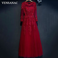 VENSANAC 2017 New A Line Embroidery O Neck Long Evening Dresses Elegant Full Sleeve Crystals Lace