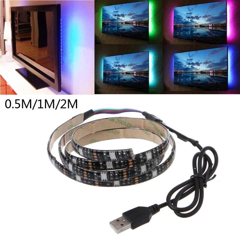 5V 5050 RGB USB 30 LED/m Flexible Strip Light TV Back Lighting Kit+3 Key RGB Controller