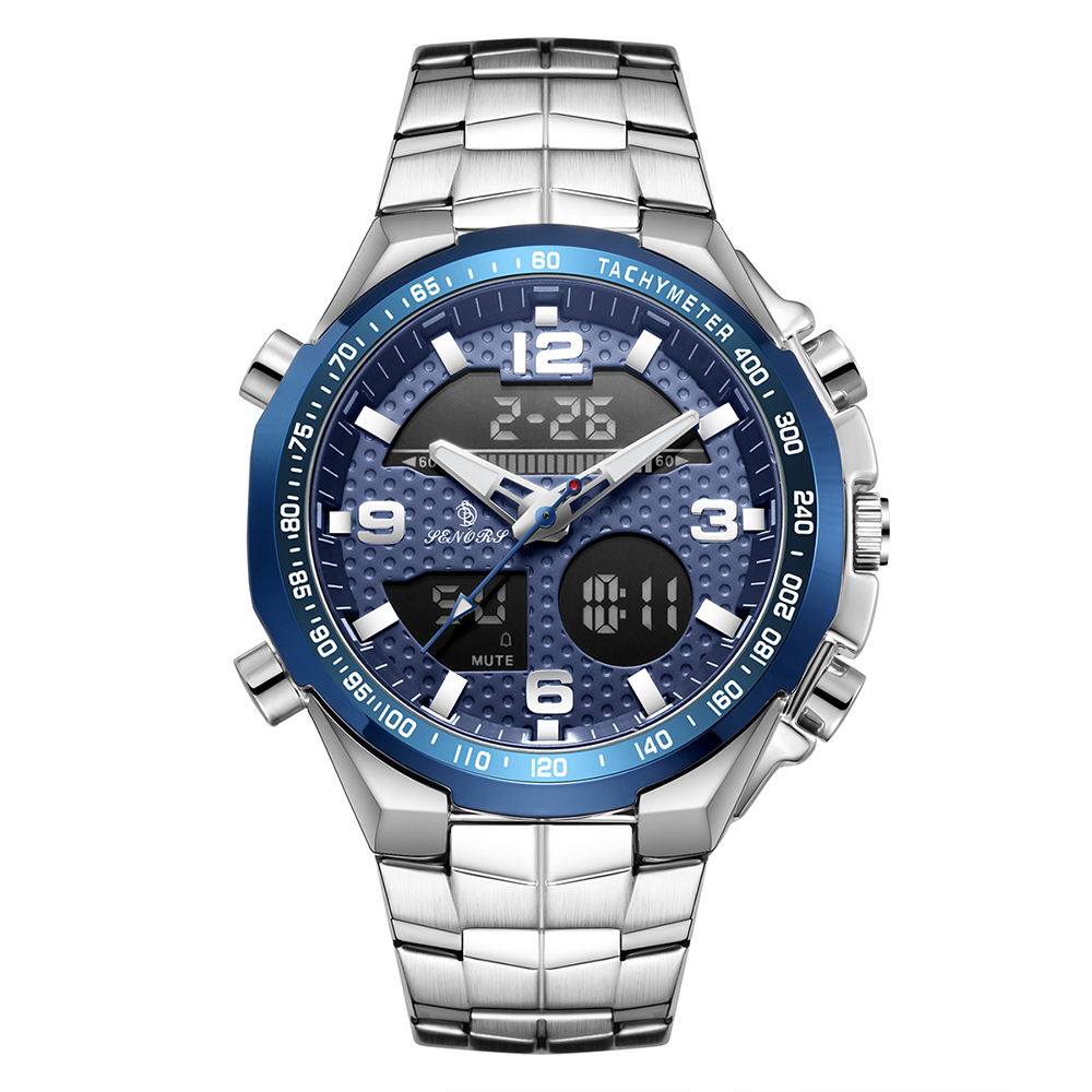 Senors Dual Display Wristwatches Sport Watch Chronograph Alarm 30M Waterproof Complete Calendar Quartz Wristwatches