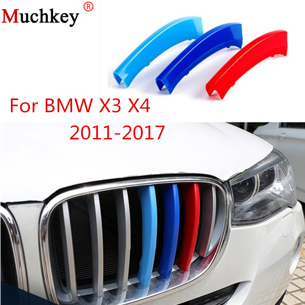 For BMW X3 X4 F25 F26 2011 to 2017 Front Grille Trim Strips Grill Performance Cover Sticker 3 Colors 3D M Styling 7 Grilles eosuns front bumper grill grille for bmw x3 x3 f25 18i 20i 28i 30dx 35ix 2010 2013