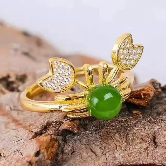 925 stříbrná zelená Jasper Ring módní dárek pro ženy šperky Otevřený prsten Roztomilý styl jemné Šperky velkoobchod j060609agby