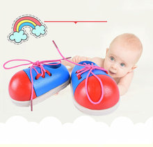 Children Learn Wear Rope Shoes Wooden System Shoelace Little Shoes Male Female Child Early Education Baby Alpinia Toys(China)