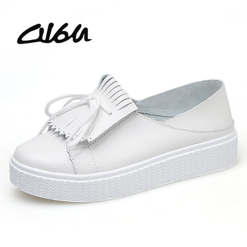 O16U Women White Sneakers Shoes Genuine Leather Tassel Fashion New Design Slip on Comfortable Women s