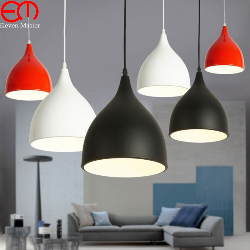 Modern Color Pendant Lights E27 Holder AC90-260V Aluminum Black/White/Red Single Head Dining-room Pendant Lamps WPL015 ювелирное изделие 01p325665 page 3