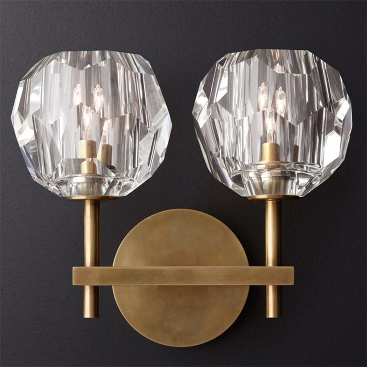 Scepter Vintage Wall Sconce with Clear Crystal Globe Shade Solid Brass Bedside Corridor Home Lighting fixture