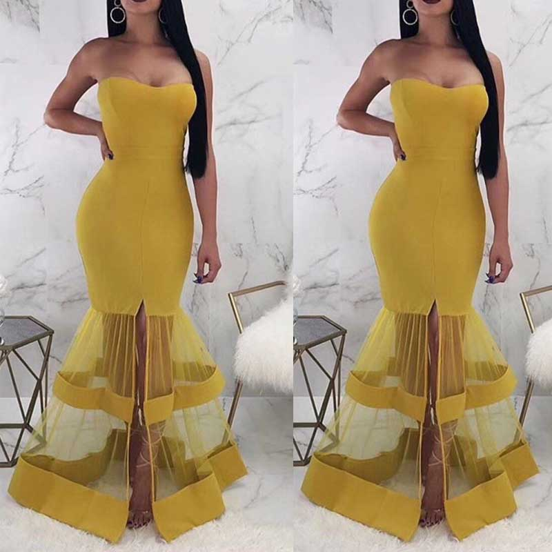Wholesale 2019 new style dress yellow Strapless Slim fit Sweet and sexy fashion Celebrity Party bandage