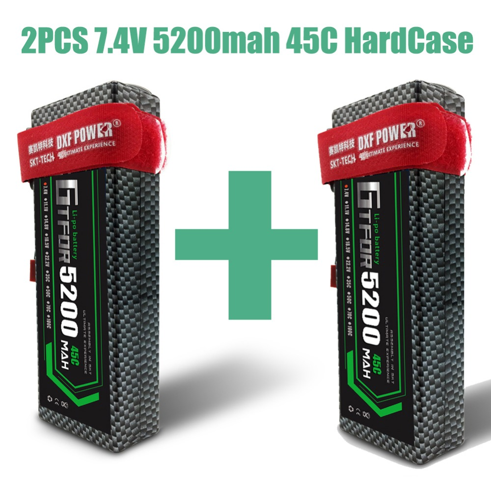 GTFDR RC Car Lipo Battery 7.4V 5200mah 45C Hard Case Bateria Lipo For Buggy Truggy Evader BX Traxxas trx4 SCX10 RC SUV RC CAR