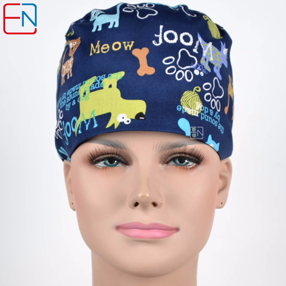 180413 Hennar Medical Clinic Surgical Hat Masks Women Medical Scrubs Hat Nurse Accessories Hospital Medical Women's Cap Masks