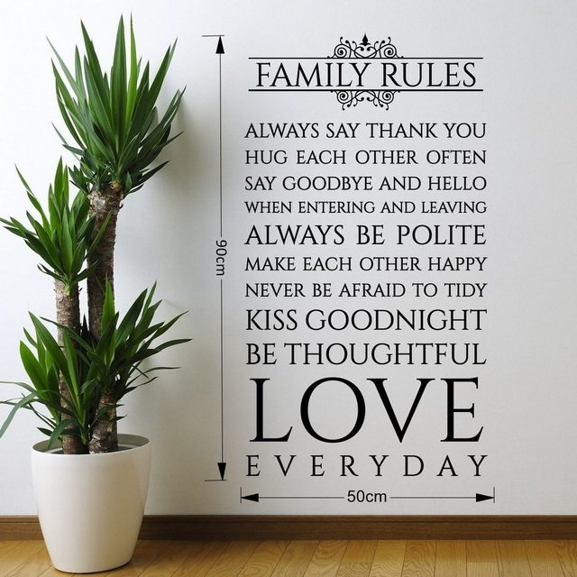 Family Rules Love Everyday Quotes Vinyl Wall Sticker Art Wall Decor Decals