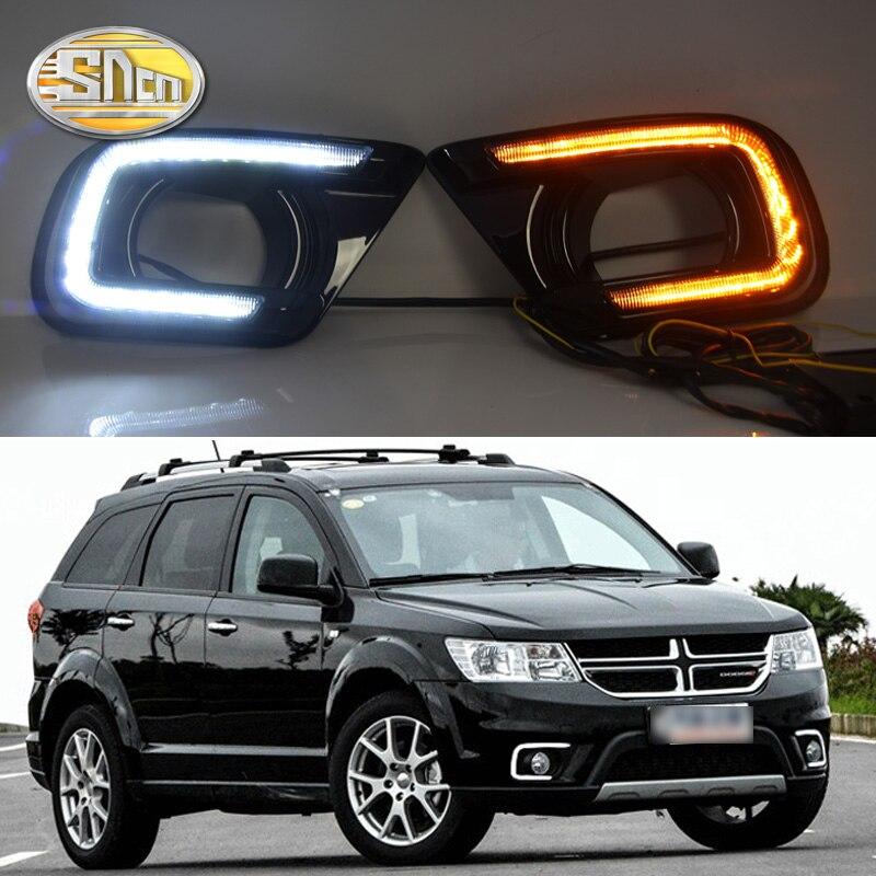 цена на SNCN LED Daytime Running Light For Dodge Journey Fiat Freemont 2014 2015 2016 Yellow Turn Signal Relay DRL Fog Lamp Decoration