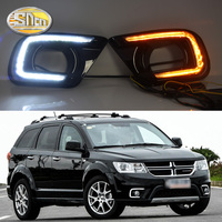 SNCN LED Daytime Running Light For Dodge Journey Fiat Freemont 2014 2015 2016 Yellow Turn Signal Relay DRL Fog Lamp Decoration