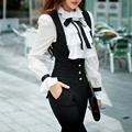 Original 2016 Brand Ladies Vintage Solid Color White Blouse Shirt Women Ruffled Collar Long Sleeve Casual Brand Tops Wholesale