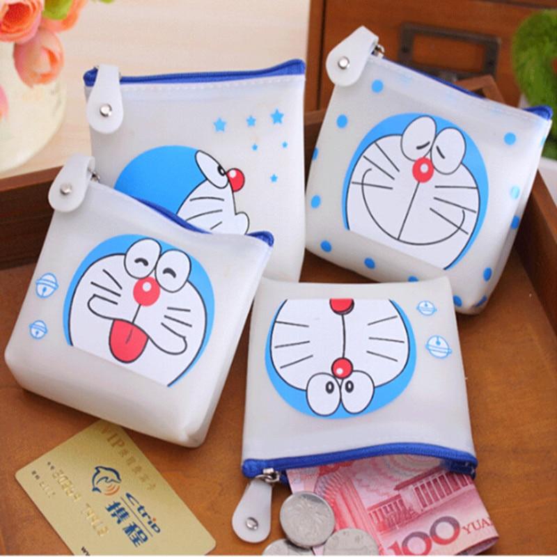 цена cartoon Jelly silicone coin purse women Doraemon cat storage organizer zipper case girls small handbag for children онлайн в 2017 году