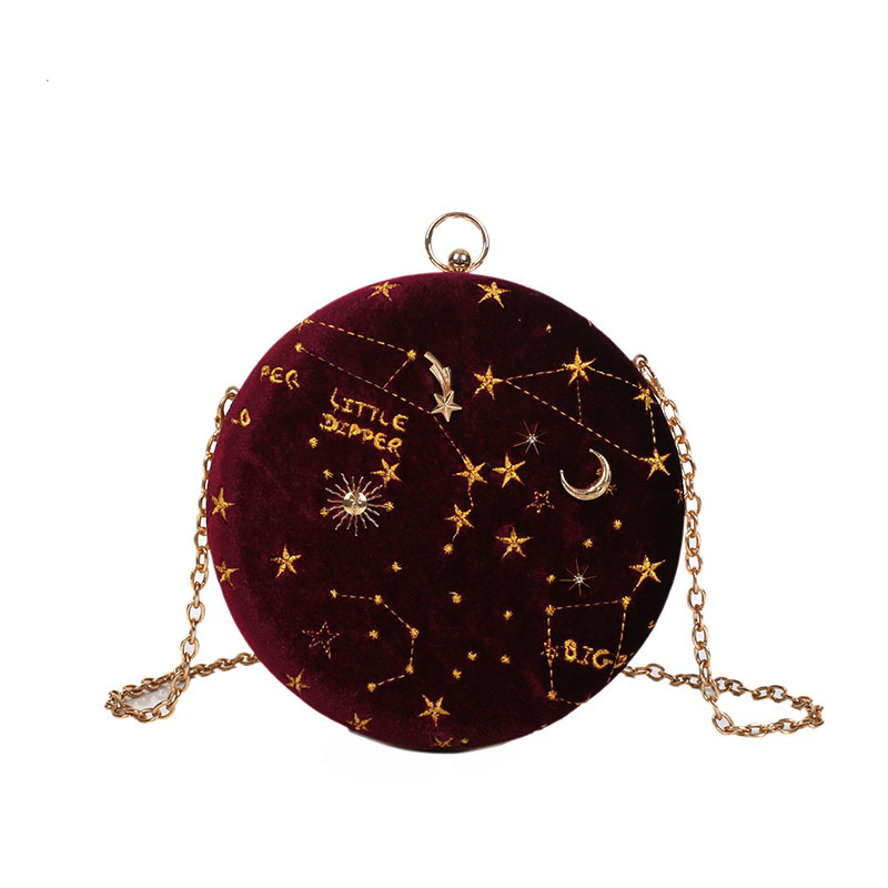 Amorvivi 2019 New velvet small round bag embroidered star chain shoulder messenger bag fairy small bag hardware chain bags