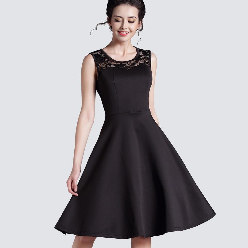New Summer Style Ladylike elegáns Vintage LBD O-Neck szexi csipke ujjatlan női bővítés magas derékú ruha labda ruha A008