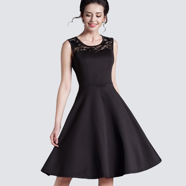 New Summer Style Ladylike Elegant Vintage LBD O-Neck Sexy Lace Sleeveless Womens Expansion High-Waisted Dress  Ball Gown A008