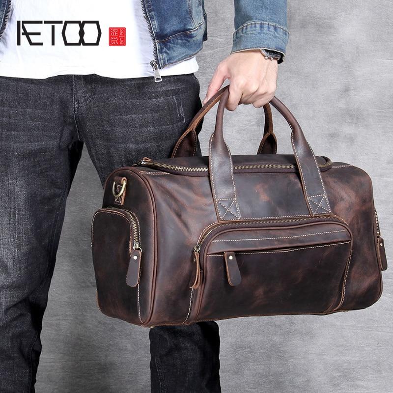 AETOO Handgemaakte hoofd koeienhuid Grote reistas mannen en vrouwen Europese retro hand bagage tas-in Reistassen van Bagage & Tassen op  Groep 1
