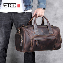 AETOO Handmade head cowhide Large travel bag men and women European retro hand luggage bag local focal handmade classic striped hand bag