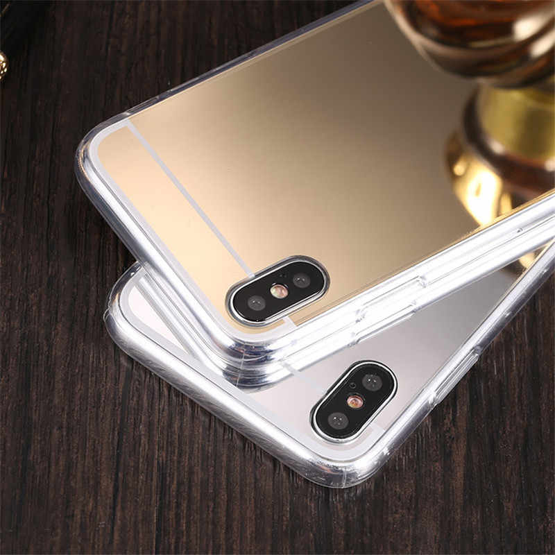 d00545eab9 ... Luxury Mirror TPU Case for iphone X Xs Max XR Rose Gold Plating Makeup  Back Cover ...