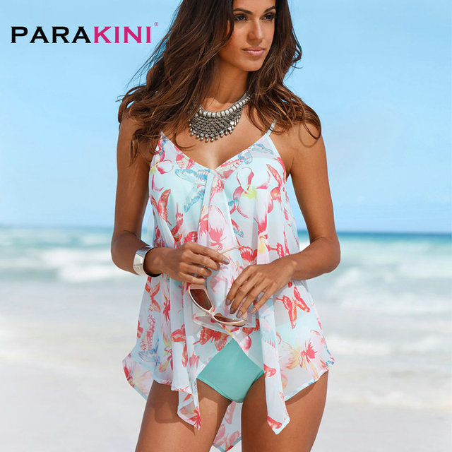 9bdd1915b79 PARAKINI Big Size Swimsuit Women Bandage Tankini with Cover Up Sexy  Backless Swimwear Female Push Up