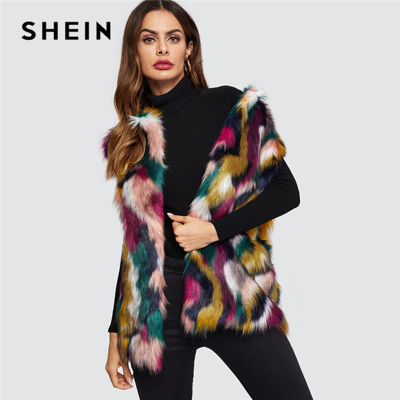 SHEIN Open Front Colorful Faux Fur Wide Waist Vest Fashion Multicolor High street Sleeveless Coat Winter
