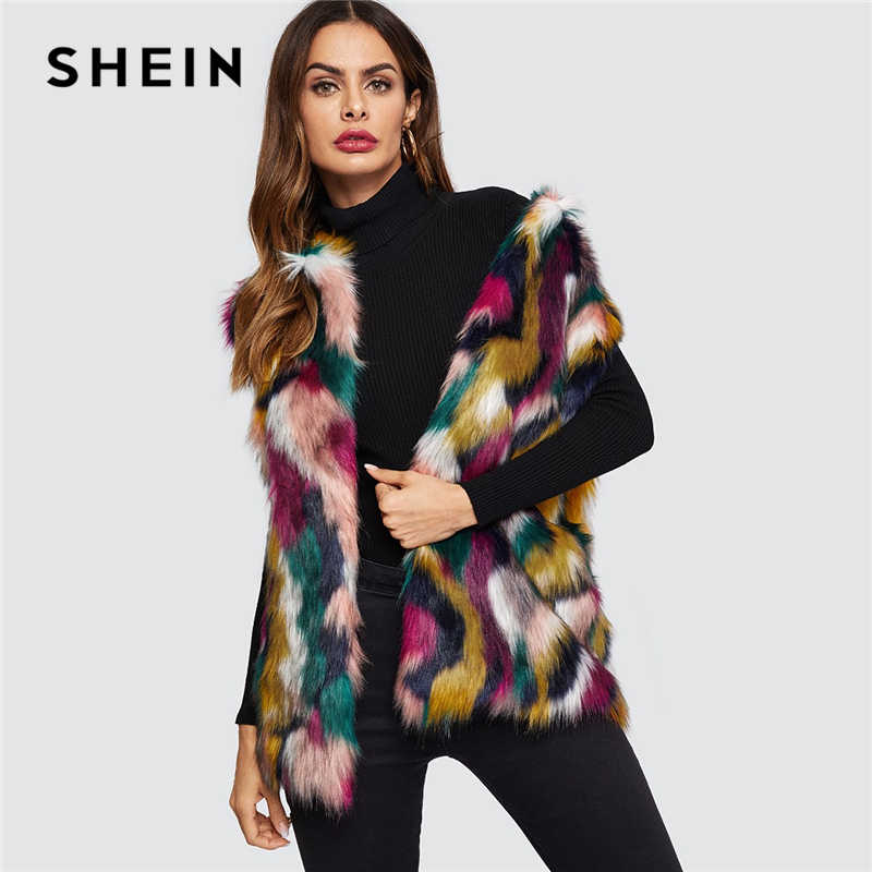 546867e512 SHEIN Open Front Colorful Faux Fur Wide Waist Vest Fashion Multicolor High  street Sleeveless Coat Winter