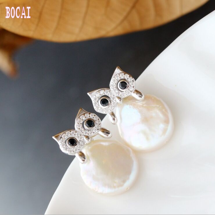 S925 pure silver earrings hand-set natural Baroque pearl stud fashion owl