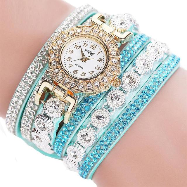 Watch 2017 relogio masculino Women Quartz Women PU Leather Rhinestone Watch Bracelet Watches Hours Horas Dropship 17JUN19 3