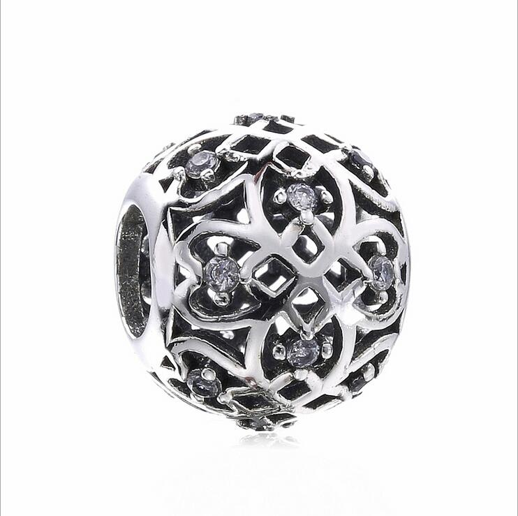 Authentic 925 Sterling Silver Round beads Openwork leaf pave crystal Jewelry accessorie Fits Pandora Bracelets DIY Gift making