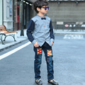 high-quality 2016 autumn the new Korean boy jeans big boy denim trousers plus size hot sale