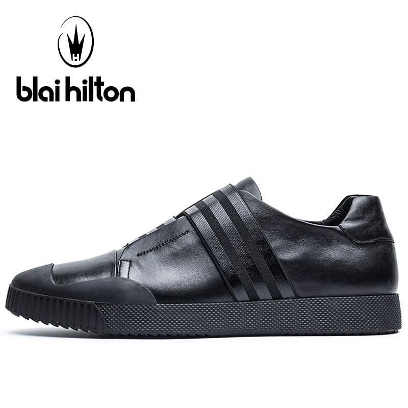 Blaibilton Flat White Color Skateboard Shoes For Men Genuine Leather Men's Sneakers 2017 Summer Breathable Sport Shoes Man Brand