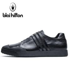 Blaibilton Flat White Color Skateboard Shoes For Men Genuine Leather Men's Sneakers 2017 Summer Breathable Sport Shoes Man Brand