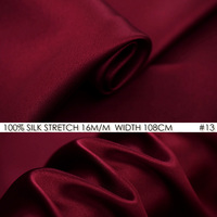 SILK STRETCH SATIN Fabric 108cm width 16momme/95% Natural Mulberry Silk Fabric+5% Spandex for Wedding Party Dress Wine Red NO 13