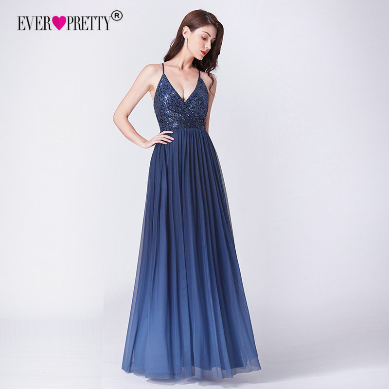 91f83aa6dc93ad0 Халат De Soiree 2019 Ever довольно EP07468NB новый элегантный линии V  образным вырезом спинки Длинные Формальные вечерние платья, расшитые  пайетками