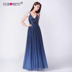 Image 2 - Robe de soiree 2019 ever pretty ep07468nb novo elegante a linha v pescoço sem costas longos vestidos de noite formais lantejoulas vestidos de festa