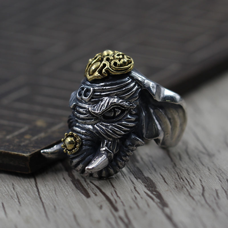 silver to create personalized carved elephants opening ring Sterling Silver 925 Retro Vintage men's domineering ring