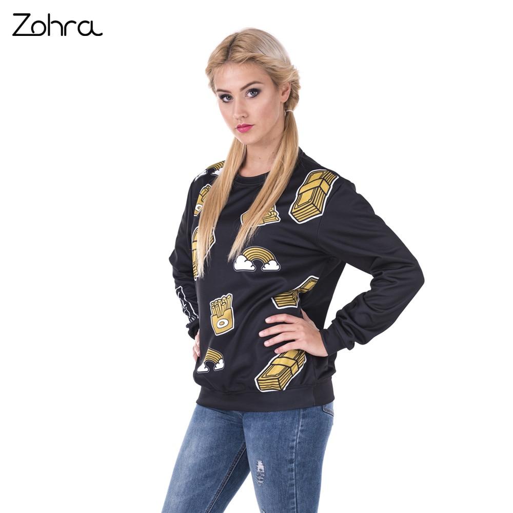 Zohra 2017 Hot Sales Pullover Sweatshirt Gold Dreams 3D Printing Black Hoodies Fashion Casual Women Sweatshirts