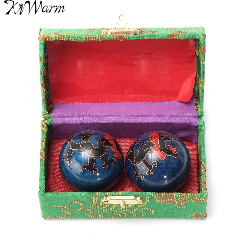 KiWarm New 2Pcs Chinese Cloisonne Exercise Stress Ball Hand Wrist Solid Chrome Baoding Ball Health Therapy Massage Ball Gemstone