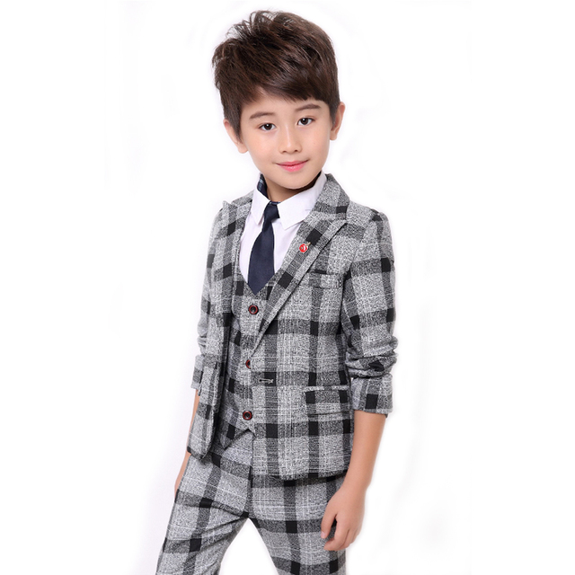 22104a5f0c9e Boys Formal Suits Fashion Kids Plaid Wedding Blazer Vest Pants Suit Autumn Winter  Toddler Boys Gentleman Prom Party