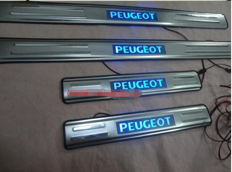 ФОТО chrome Stainless steel led Illuminated Door Sill Scuff Plate For Peugeot 206 207
