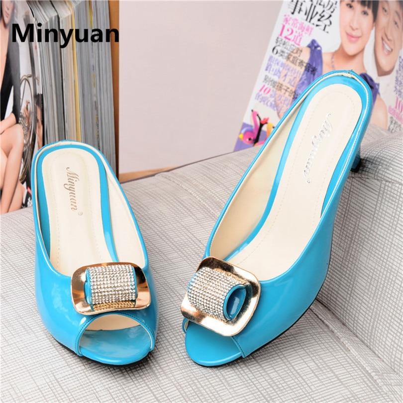 Minyuan European American Style Classic Peep Toe Rhinestone Women Summer Slipprs Thick Heel Lazy Sandals Big